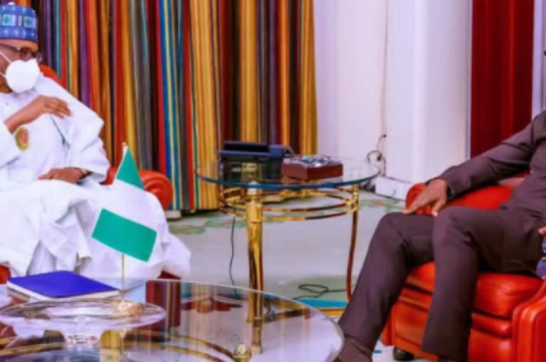 Former President Goodluck Jonathan in a closed door meeting with Buhari in Abuja